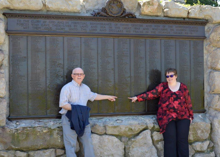 Tracy Madore and her father, Walter, standing at the base of the Caribou Monument at the Beaumont-Hamel Newfoundland Memorial in 2016. The bronze tablets include the names of 820 members of the Newfoundland contingent who gave their lives in the First World War and have no known grave, including Pte. George A. Madore.PHOTO: Tracy Madore