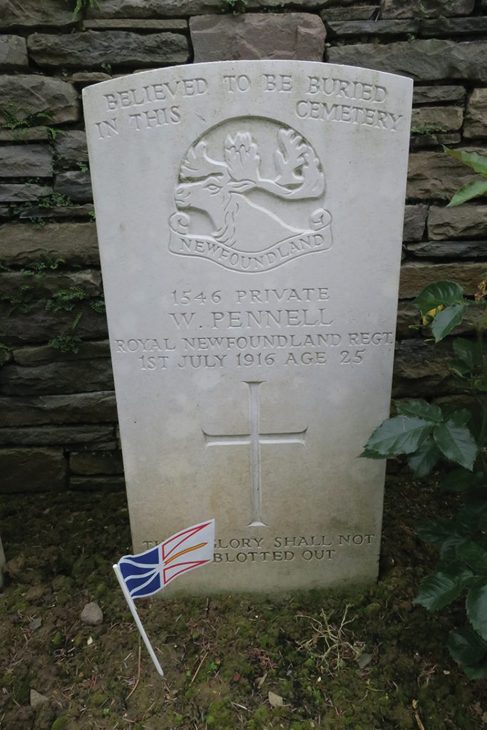 Pte. William Pennell's gravestone in Y Ravine Cemetery, Newfoundland Memorial Park, Beaumont-Hamel, France.  PHOTO: Sophie Peckford