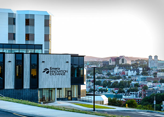 The Emera Innovation Exchange at Memorial's Signal Hill Campus was named in recognition of Emera's contribution to innovation and entrepreneurship programming at Memorial University. Note: building signage depicted by designer.  PHOTO: Rich Blenkinsopp