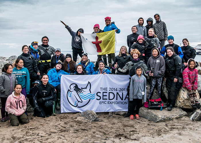 Sedna Expedition members and youth in Pond Inlet, Nunavut.  PHOTO: Amanda Cotton/Sedna Expedition