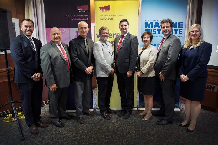 Carey Bonnell, President Kachanoski, Dr. Mark Abrahams, Dr. Paul Snelgrove, Christopher Mitchelmore, Iris Petten, Nick Whalen and Marlies Rise