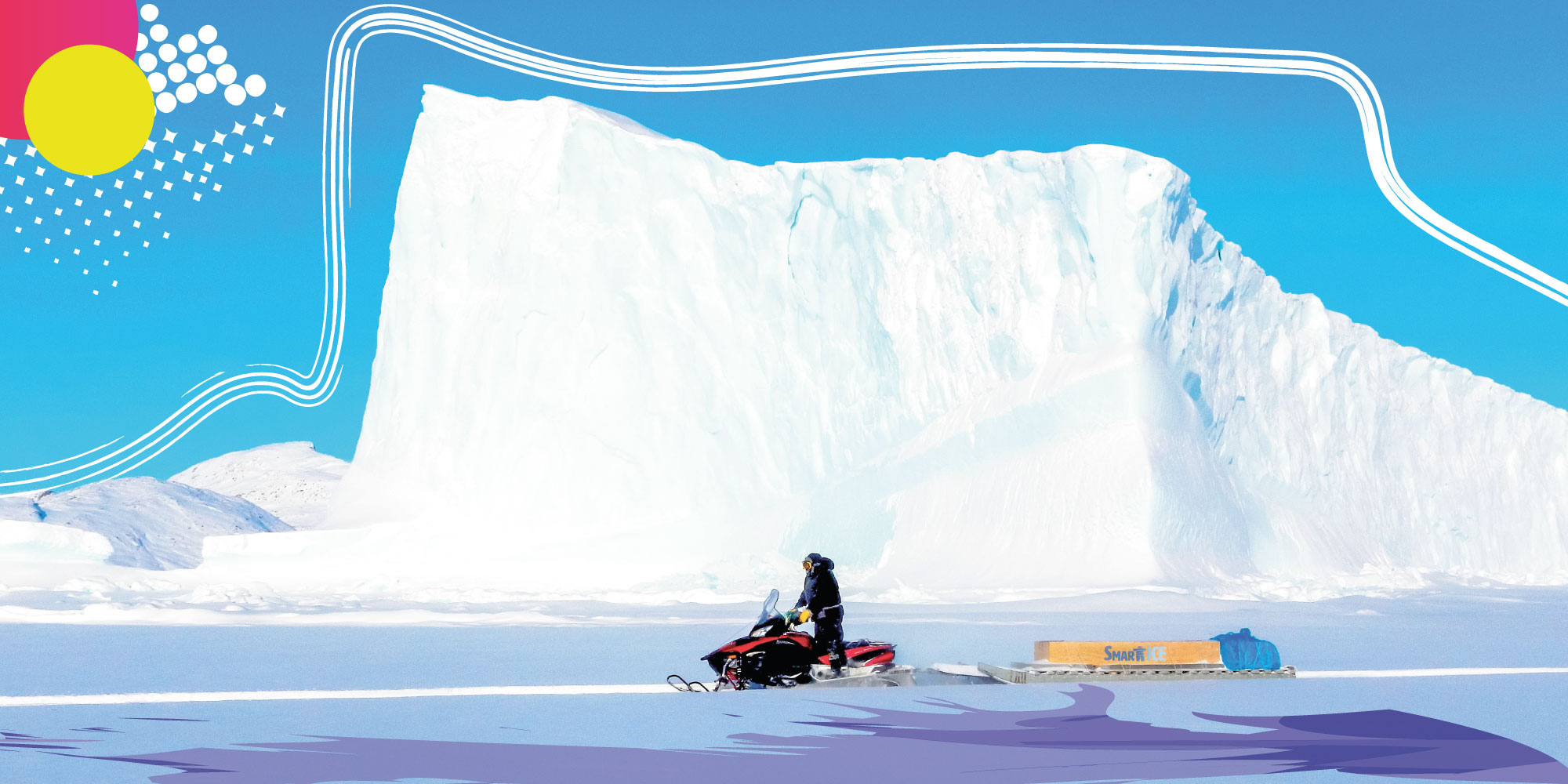 Snowmobiler in front of ice mountain!